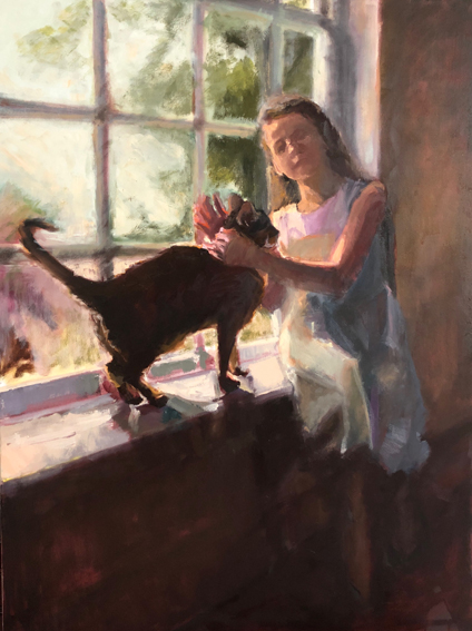 painting of girl and cat in window